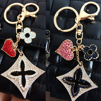Quality Brand KeyLock Heart Clover Car Keychain Key Chain Bag Hanger Key ring for Women Female Novelty Gifts Llaveros