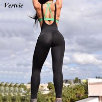 Vertvie 2018 Solid Push Up Women Yoga Pants Ladies Gym Playsuit Clothes Exercise Sport Leggings Running Sportswear Yoga Jumpsuit