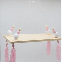 Beads and Tassels Hanging Shelf