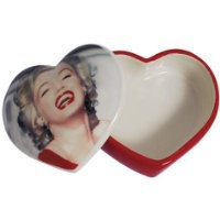 Heart Shaped Jewelry Trinket Box with Red Dress Marilyn Monroe Picture