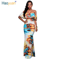 2016 Fall Summer Ruffle Off Shoulder Maxi Dress Robe Sexy Party Dresses Backless Slim Elegant Vintage Floral Bodycon Long Dress