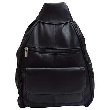 Women Fashion Genuine Leather Travel Convertible Backpack Purse W/Cellphone Pocket