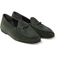 Rubinacci - Marphy Leather-Trimmed Velvet Loafers