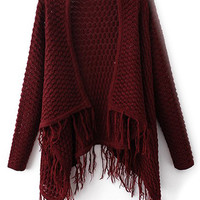 ROMWE Asymmetric Tassled Hollow-out Long-sleeves Burgundy Cardigan