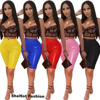 Women Sexy PU Leather Stretchy Pencil Shorts