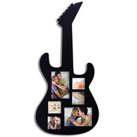 Decorative Black Wood Guitar Wall Hanging Collage Picture Photo Frame (6-Opening)