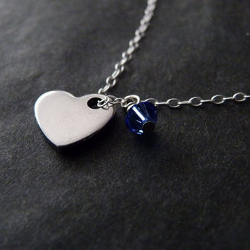Custom Birthstone Heart Necklace, STERLING SILVER, Mothers Gift, Bridesmaid Gifts, Wedding Jewelry