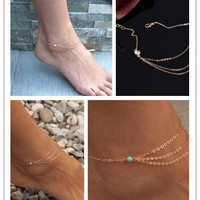 Cute Shiny New Arrival Jewelry Gift Sexy Stylish Turquoise Rhinestone Tassels Chain Ladies Simple Design Beach Accessory Anklet [6768757767]