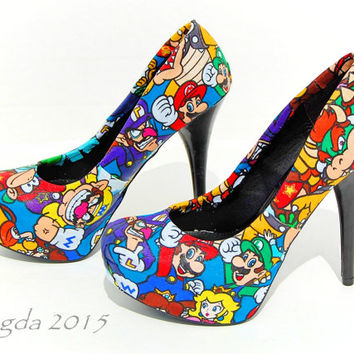 SUPER RARE- Mario Party Heels- Wedding shoes- Prom shoes- Matching shoes- Super Mario Bros- Homecoming- Geek- Nerd -Geeky -Gamer