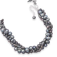 17in x 2in Extension Multistrand Grey Cultured Freshwater Pearl Necklace