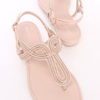 Nude Beaded Thong Sandals Faux Leather