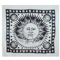 Black and White Sun and Moon Stars Tapestry Wall Hanging on RoyalFurnish.com