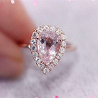 6x9mm Round Pink Morganite Ring 14K Rose Gold SI/H Moissanite Halo Engagement Wedding Ring Promise Ring