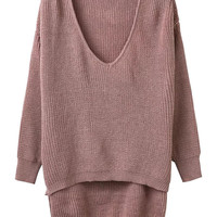 Pink V-neck Dipped Hem Long Sleeve Knit Sweater
