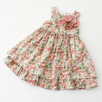 2017 Kids clothing summer dress for girl summer style girl dress floral print cotton baby children clothes