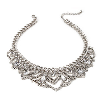 FOREVER 21 Scalloped Snake Chain Necklace Silver/Clear One