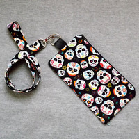 Sugar Skull Lanyard Pouch with optional matching Lanyard Day of the Dead Goth Halloween