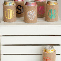 Monogrammed Coozie Burlap Can Cozy, Koozie, Personalized Coozie, Bridesmaid Coozie, Beer Koozies, Can Wrap