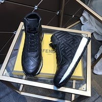 2021 FENDI Men's Leather Casual HIGH Top Sneakers Shoes black