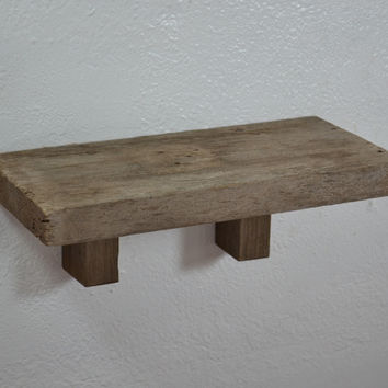 "Deep old wood wall shelf 16"" x 7"" handcrafted in the USA from reclaimed wood."
