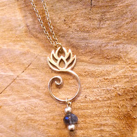 Lotus Necklace-14k Gold Filled & Labradorite