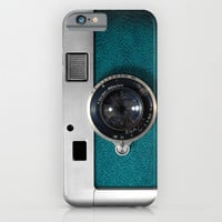 Classic retro Blue Teal Leather silver Germany vintage camera iPhone 4 4s 5 5c, ipod, ipad case iPhone & iPod Case by Three Second