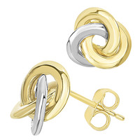 14K Two Tone Gold Love Knot Style Stud Earrings - 11mm