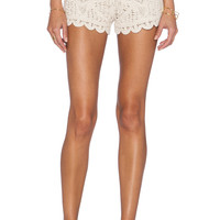 Surf Gypsy Crochet Cover Up Shorts in Tan