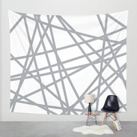 To The Edge Grey Wall Tapestry by Project M