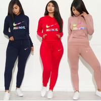 NIKE Women's Fashion Alphabetic Sexy Sanitary Clothes Two-piece Set