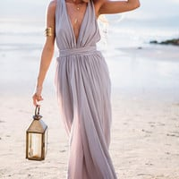 Light Purple Maxi Dress Vacation Beach Wedding Dress