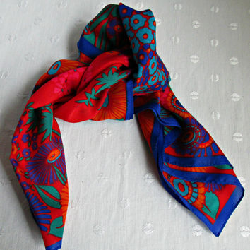 Bold Red Blue Green Flowers Floral Vintage Head Scarf