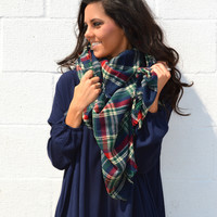Falling for Plaid Blanket Scarf