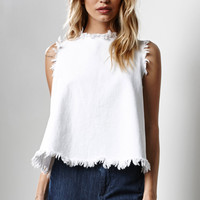 J.O.A. Frayed Denim Tank Top at PacSun.com