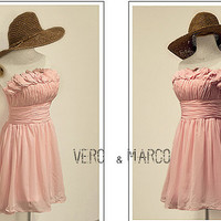 Simple baby pink ruffled neckline knee-length A-line ruched chiffon satin plus size prom bridesmaid dress homecoming dress ET304