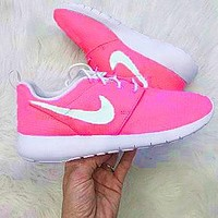 NIKE Pink Shoes Roshe Women Running Sport Casual Shoes Sneakers