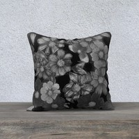 18x18 Cosmos Night Pillow Cover * Pressed Flowers * Art Print * Throw Pillow * Home Decor * Whimsical Floral * Handmade * Black and White *