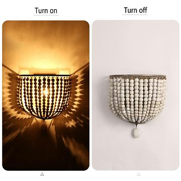 European retro wooden beads wall lamp bedroom bedside cafe LED wall