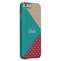 Monogram Teal, Red, Starfish Brown Dots ColorBlock Barely There iPhone 6 Case