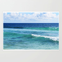 Quintana Roo - Photograph Print, Blue & Green Coastal Ocean Waves, Beach Surf Seascape Decor Wall Art Hanging Accent. 8x10 11x14 16x20 20x30