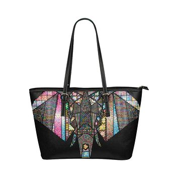 Tote Shoulder Bag with Colorful Tribal Elephant Design
