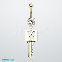 Golden Key Playboy Bunny Belly Button Ring