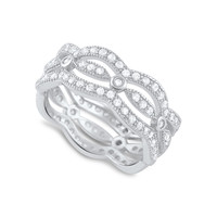 Sterling Silver Simulated Diamond Multi-Row Eternity Ring