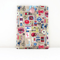 Ipad Air case , beige craft print fabric tablet sleeve ,  padded tablet cover , Ipad Air cozy UK seller