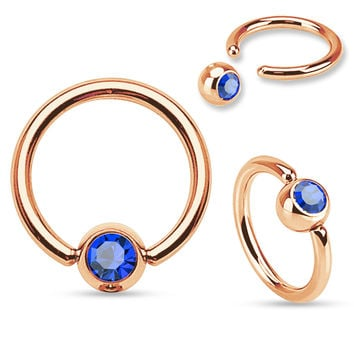 Rose Gold Cartilage Tragus Helix Daith Body Jewelry 16ga 316L Stainless Steel Body Jewelry  Blue Gem