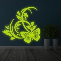 Glowing Vinyl Wall Decal Butterfly and Flowers - Glow in Dark Nature Sticker - Luminescent Beautiful Home Room Mural + Free Decal Gift