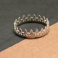 Little Princess Crown Sterling Silver Ring by Decadence2Jewelry