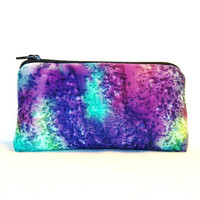 "Bright Tie Dye Splatters Cotton Padded Pipe Pouch 5.5"" / Glass Pipe Case / Spoon Cozy / Piece Protector / Pipe Bag / SMALL"