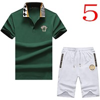 Versace Casual Men Short Sleeve  Shirt Top Tee Shorts Set Two-Piece