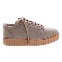 Stealthy01M Taupe By Bamboo, Classic Round Toe Lace Up Flats With Platform Ribbed Tooling Sneaker